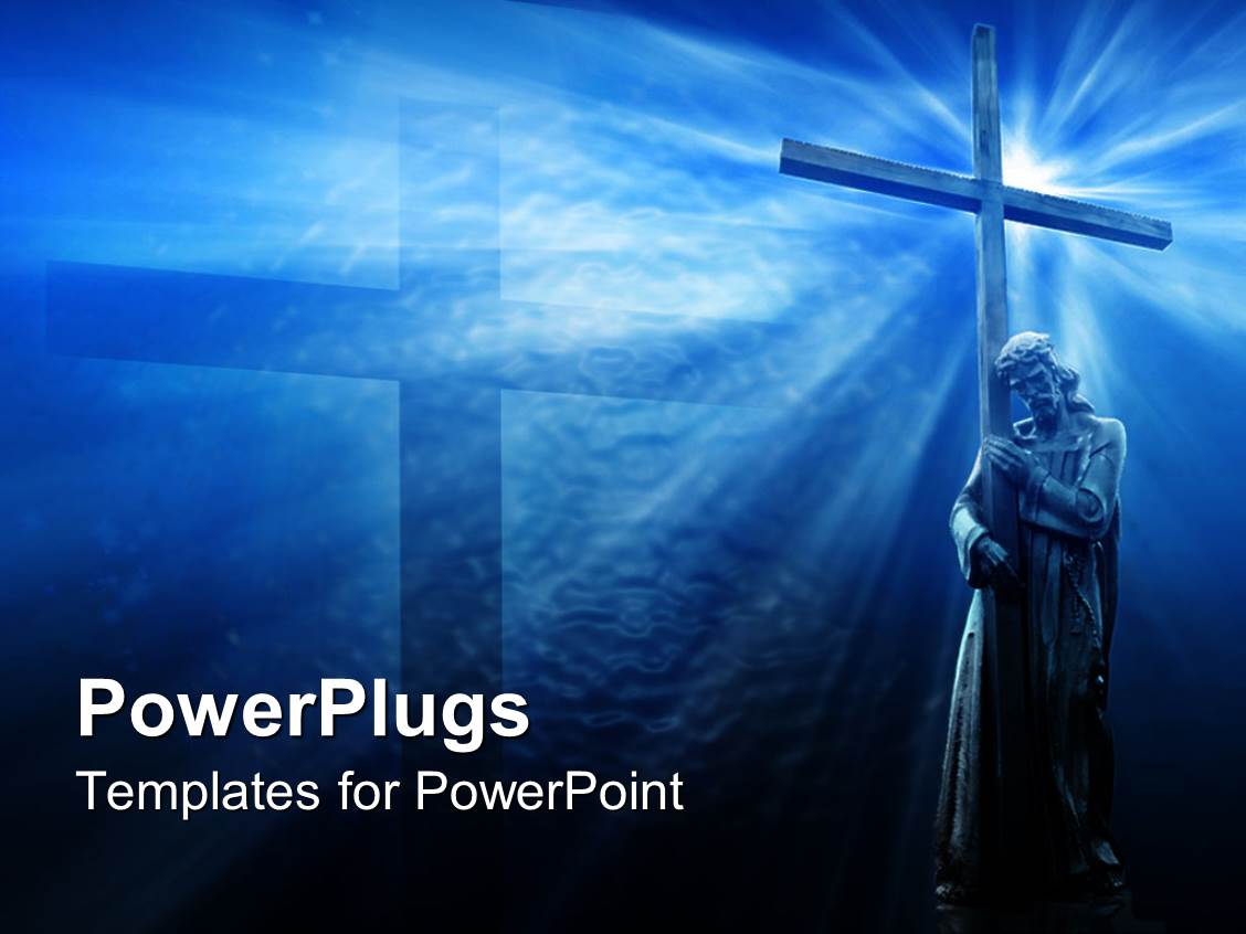PowerPoint Template: Jesus with cross, blue background ...