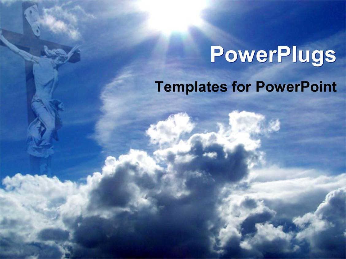 powerpoint template jesus on cross with blue sky and