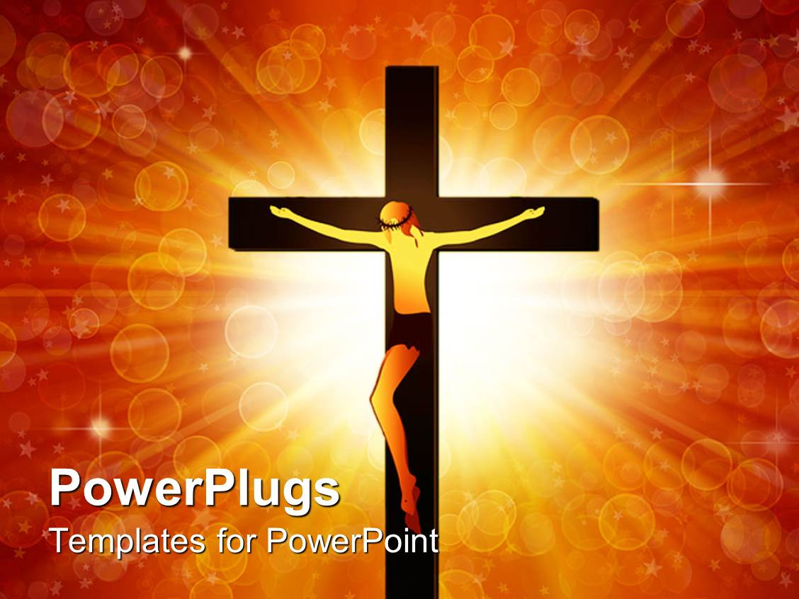 powerpoint template the jesus on the cross with light in the