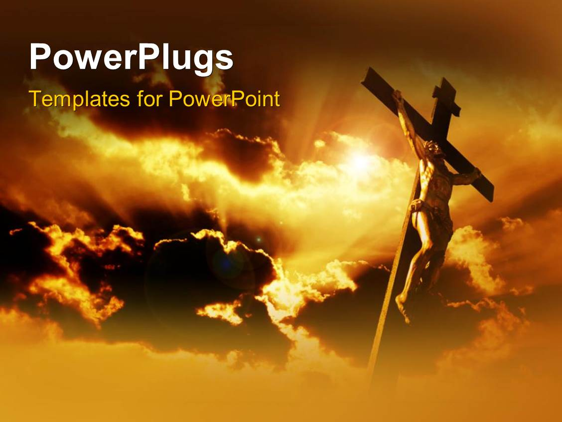 powerpoint template jesus on the holy cross with clouds