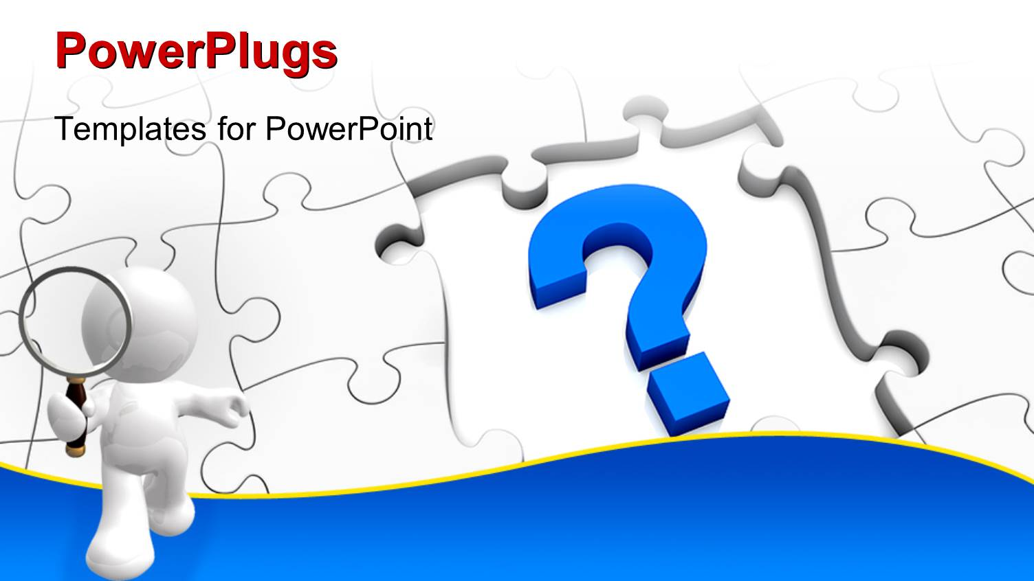 powerpoint template: jigsaw puzzle with a question mark and, Modern powerpoint