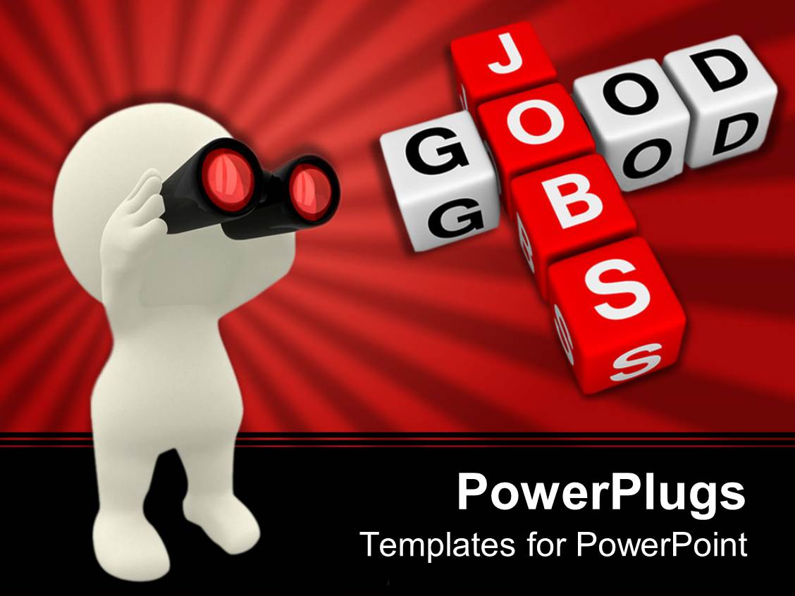 best job search powerpoint templates crystalgraphics powerpoint template displaying job search metaphor white human holding binoculars good jobs blocks