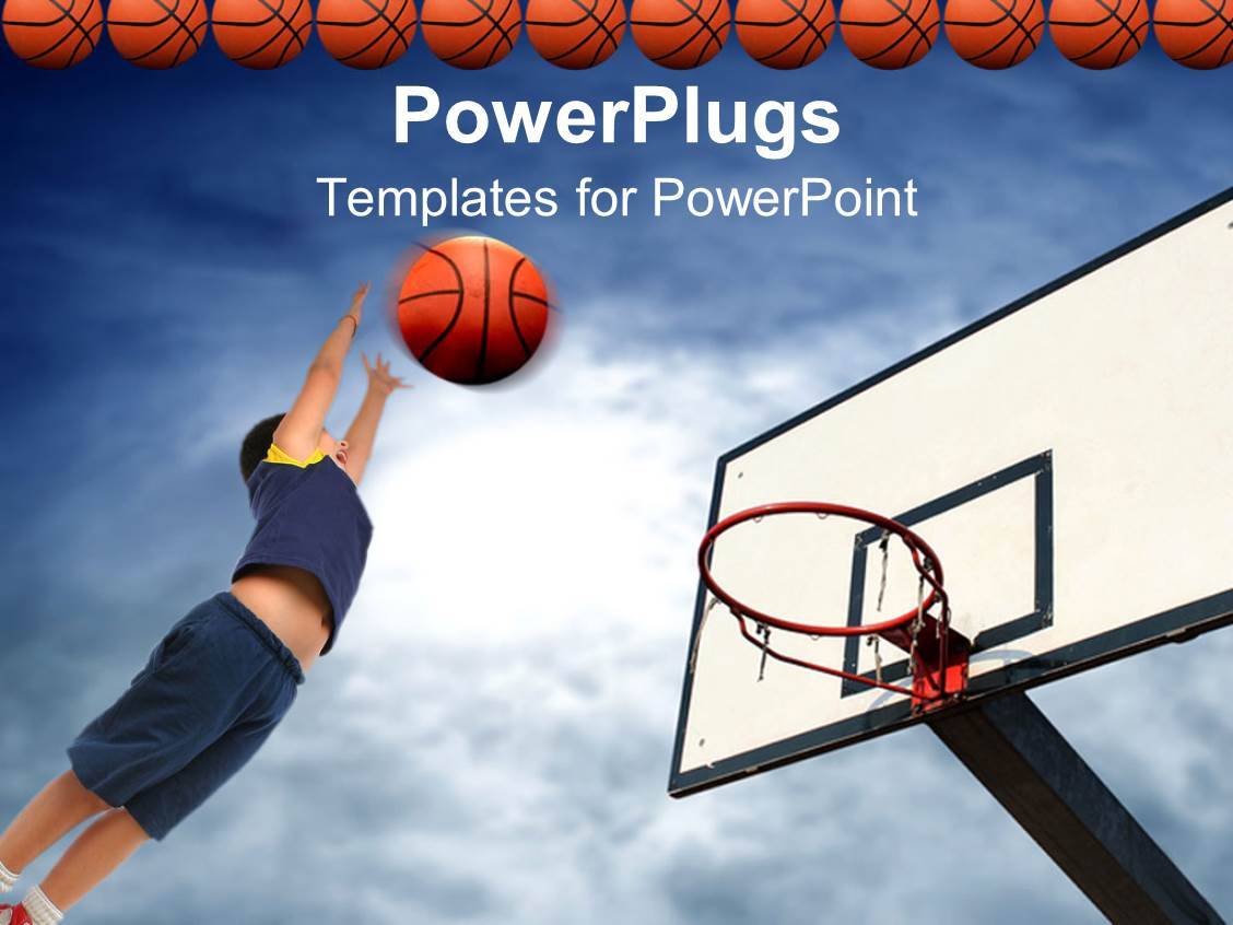 powerpoint template kid playing basketball aiming basketball to basket row of basketball balls. Black Bedroom Furniture Sets. Home Design Ideas