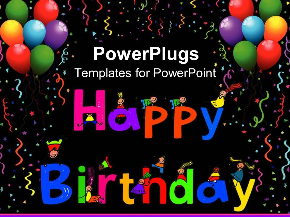 powerpoint template: kids climbing happy birthday letters with, Powerpoint templates