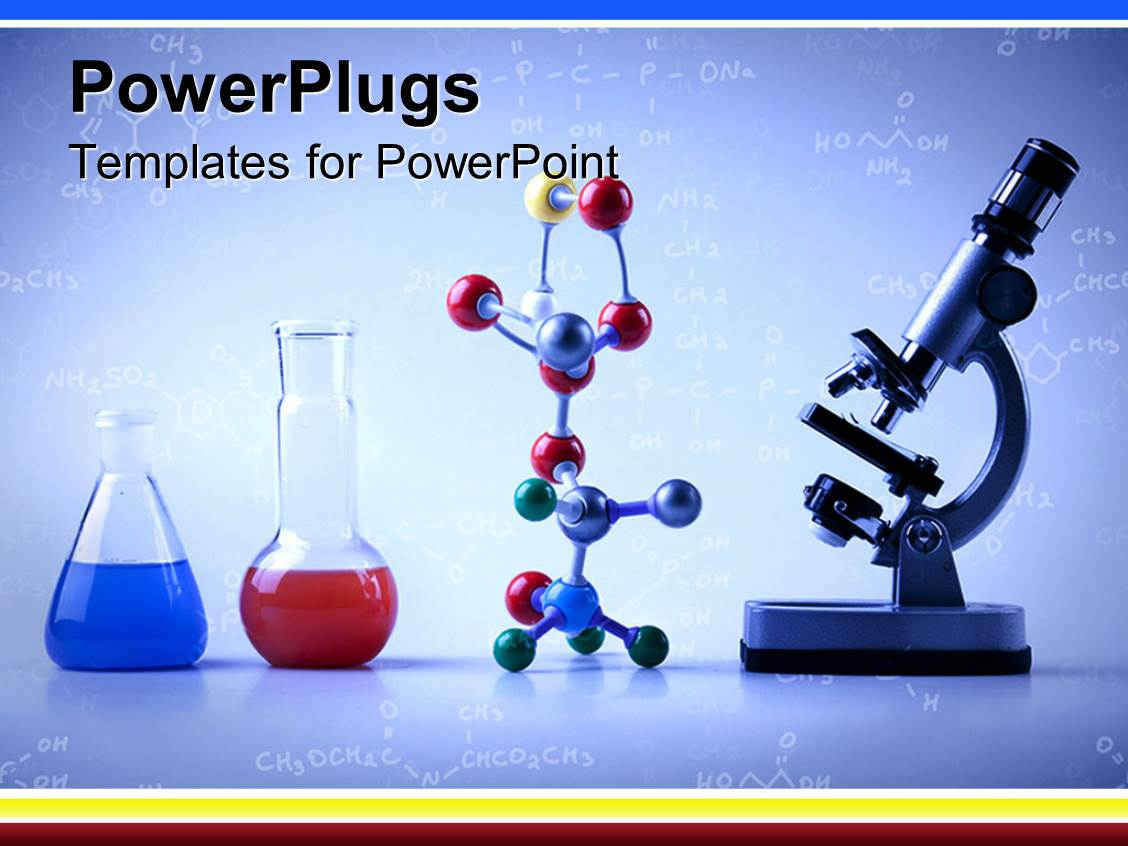 Chemistry powerpoint templates crystalgraphics colorful ppt theme having lab equipment with vials with blue and red liquids multicolored molecular template size toneelgroepblik Image collections