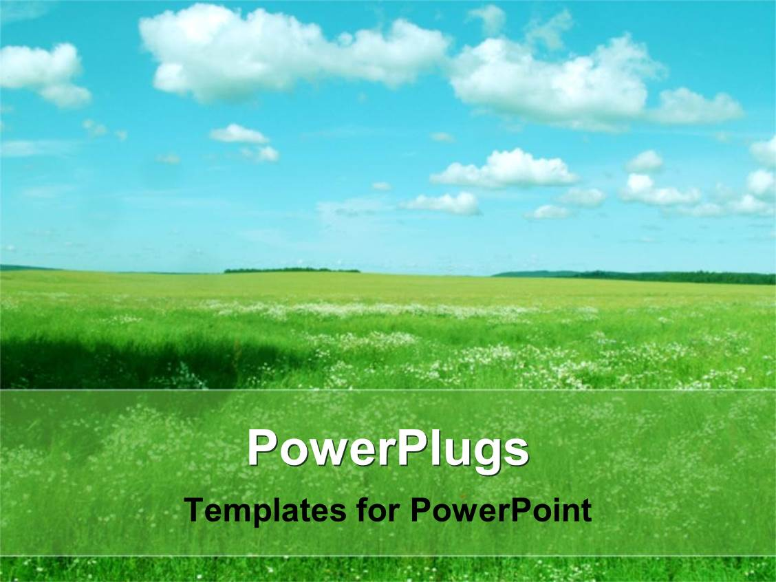 powerpoint template landscape with green field blue sky