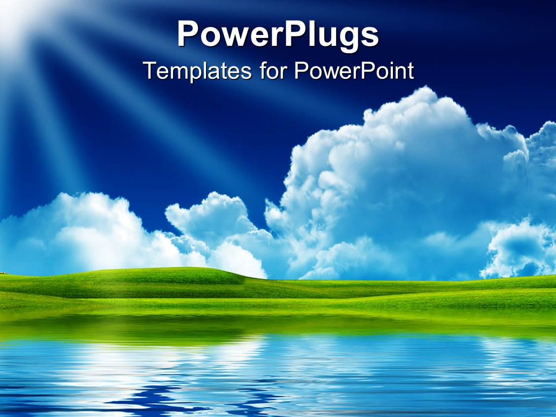 powerpoint template landscape of nature with clouds sun