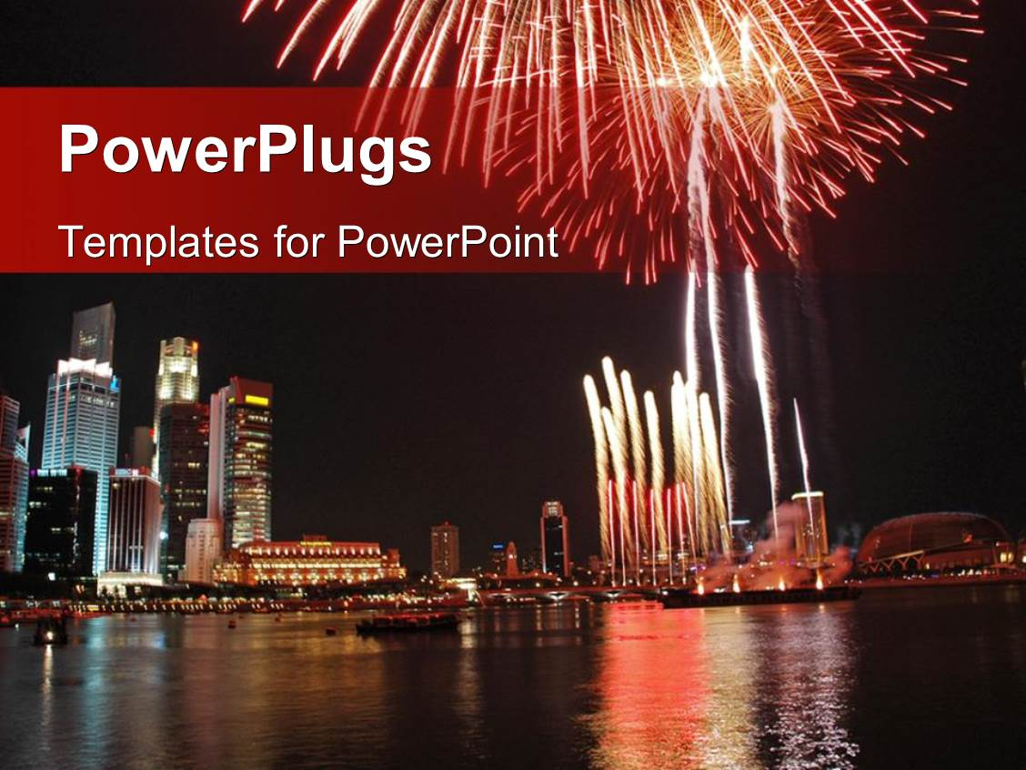 Powerpoint template a landscape view of a city with fireworks and powerpoint template displaying a landscape view of a city with fireworks and the sea toneelgroepblik Choice Image