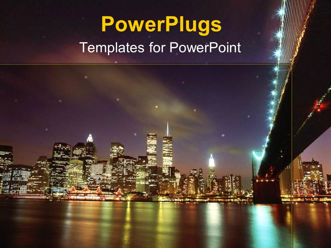 Powerpoint template statue of liberty with new york city in powerplugs powerpoint template with landscape view of new york city showing lots of lights and toneelgroepblik Images