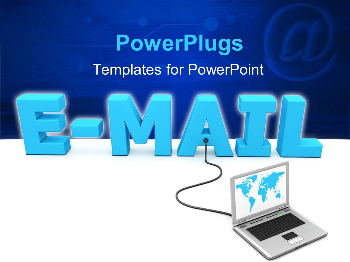 Powerpoint template a laptop connected to the word email for Power plugs powerpoint templates