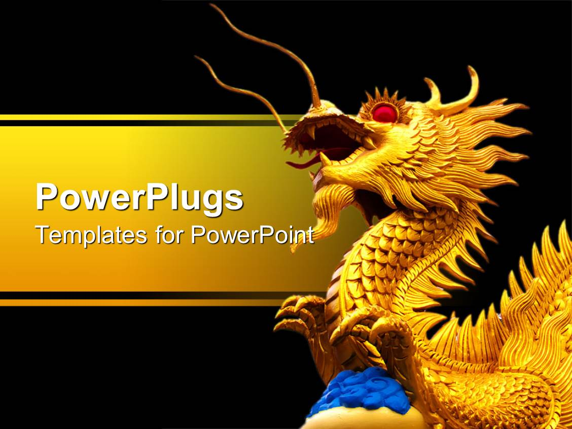 powerpoint template a large gold colored 3d dragon with red eyes