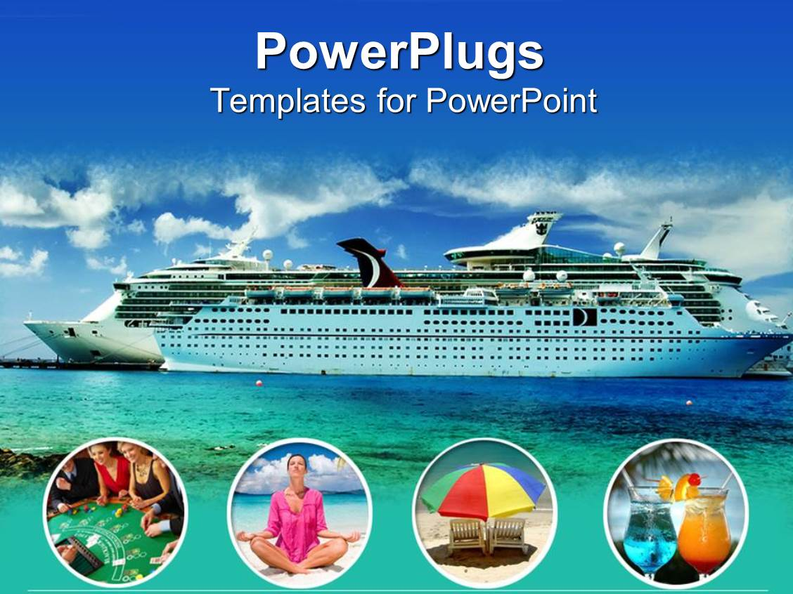 powerpoint template large modern cruise ship lots of free space