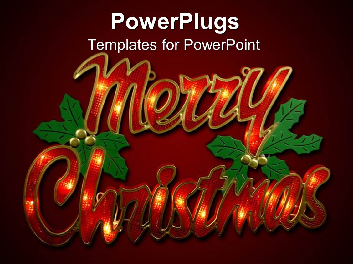 powerpoint template large red merry christmas text on a. Black Bedroom Furniture Sets. Home Design Ideas