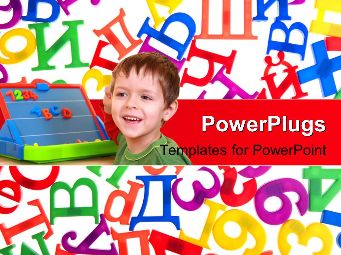 PowerPoint Template Displaying Learning Concepts Using Kids , Education Board and Alphabets