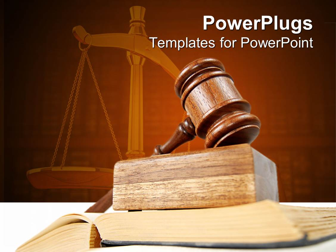 Powerpoint template blurred view of justice building in the theme having legal theme with judges gavel atop of opened justice book and scales of justice toneelgroepblik Choice Image