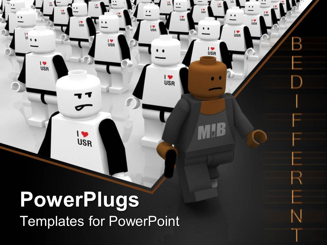 Powerpoint Template Lego Figure In Black Walks Away From