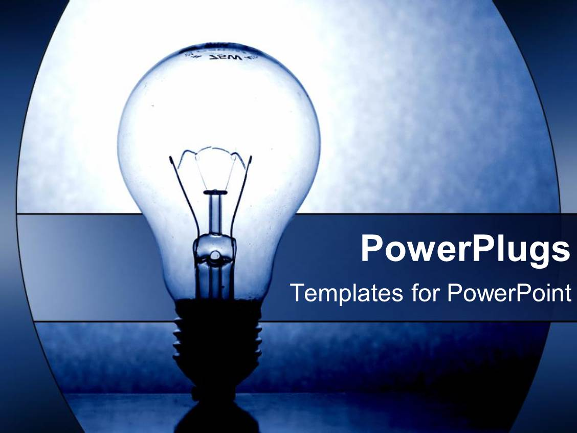 powerpoint template: light-bulb as a metaphor for ideas on a blue, Powerpoint templates