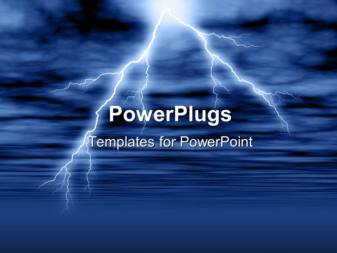 Lightning powerpoint templates crystalgraphics presentation theme featuring lightning and thunderstorm in cloudy sky over water surface template size toneelgroepblik Gallery