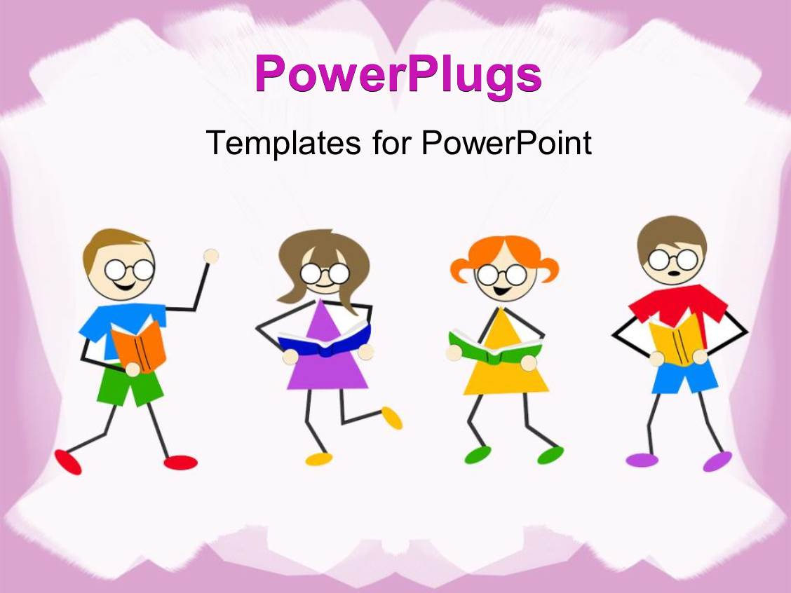 Kindergarten powerpoint templates crystalgraphics colorful slide deck having little kids dancing and reading book on white background with pink frames template size toneelgroepblik Image collections