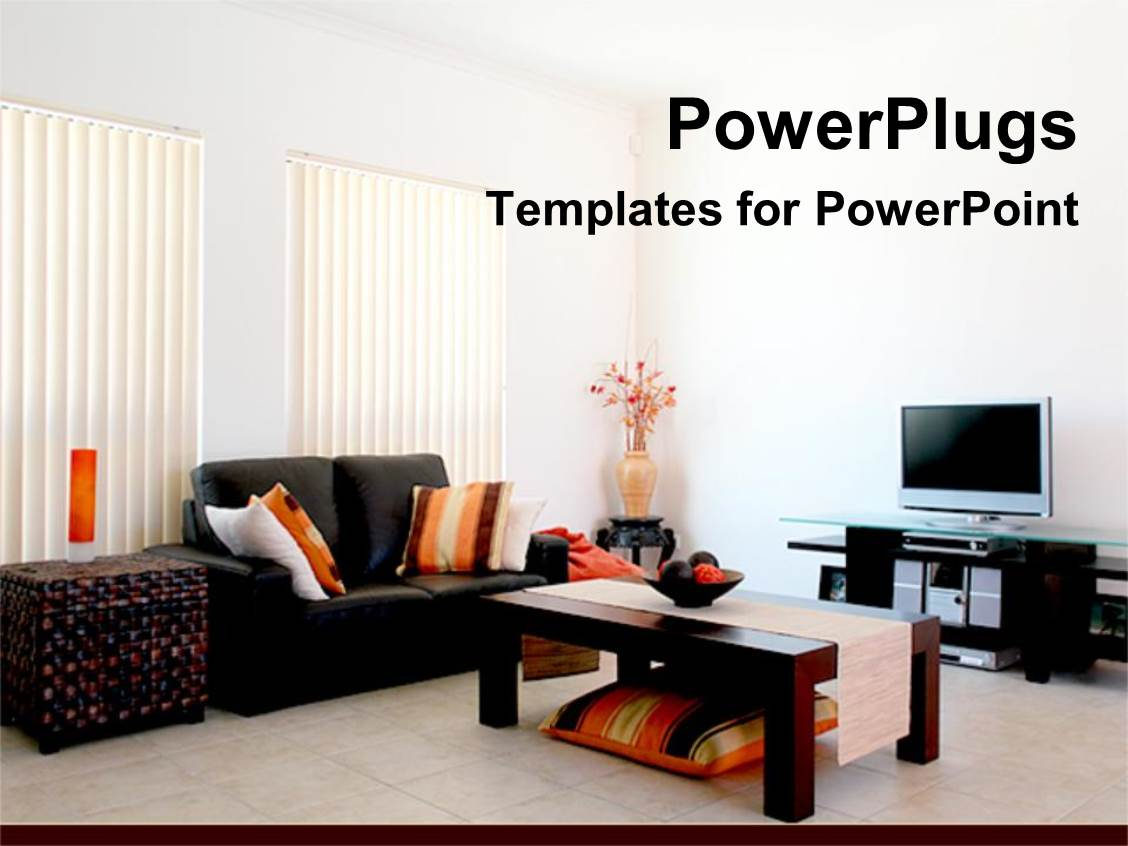 powerpoint template: living room with modern furniture and tv vase, Presentation templates
