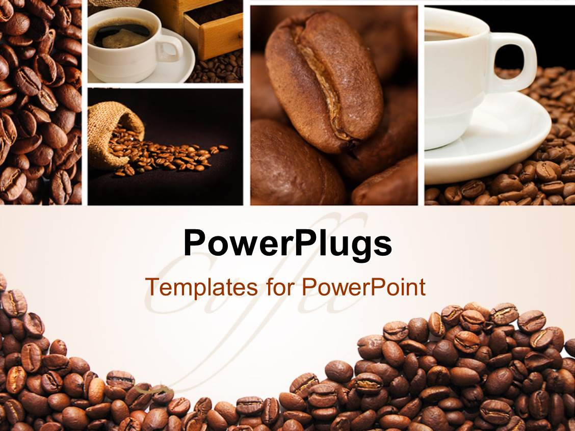 powerpoint template: a lot of coffee beans and a cup of coffee (7558), Presentation templates