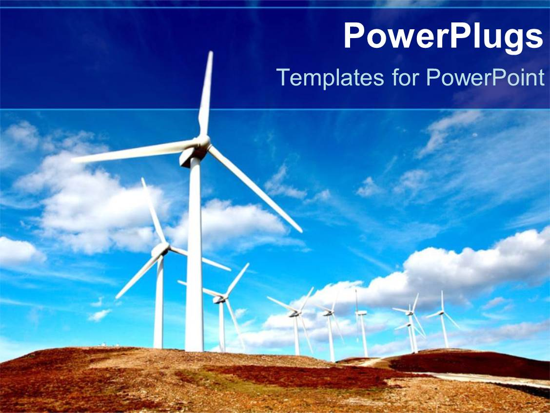 PowerPoint Template Displaying a Lot of Windmills with Clouds in the Background