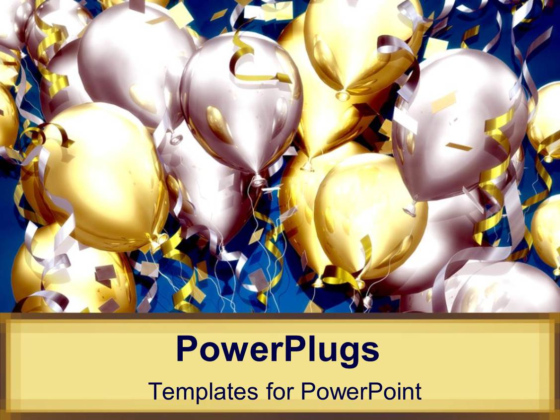 Celebration powerpoint templates crystalgraphics audience pleasing presentation design featuring lots of balloons and confetti for celebration party on tan background template size audience pleasing toneelgroepblik Choice Image