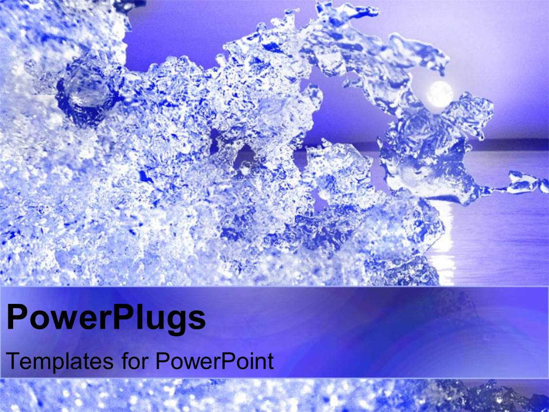 powerpoint template: lots of clear ice crystals on an ocean, Modern powerpoint