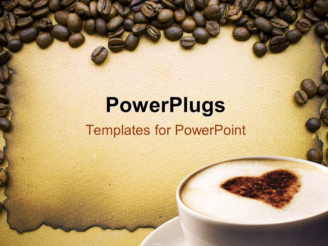 powerpoint template lots of coffee beans around a white. Black Bedroom Furniture Sets. Home Design Ideas