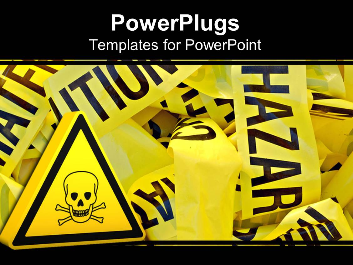 Free powerpoint templates 2529 html free ppt powerpoint templates - Powerplugs Powerpoint Template With Lots Of Crumbled Up Yellow Strips With A Caution Hazard Sign
