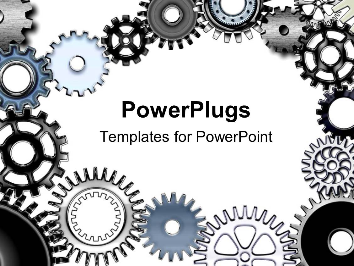 powerpoint template: lots of metallic gears on a white colored, Modern powerpoint