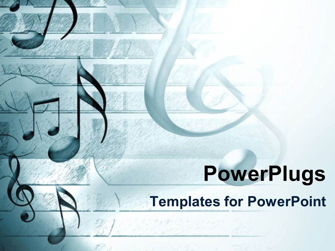 PowerPoint Template Displaying Lots of Musical Note Symbols on a White Background