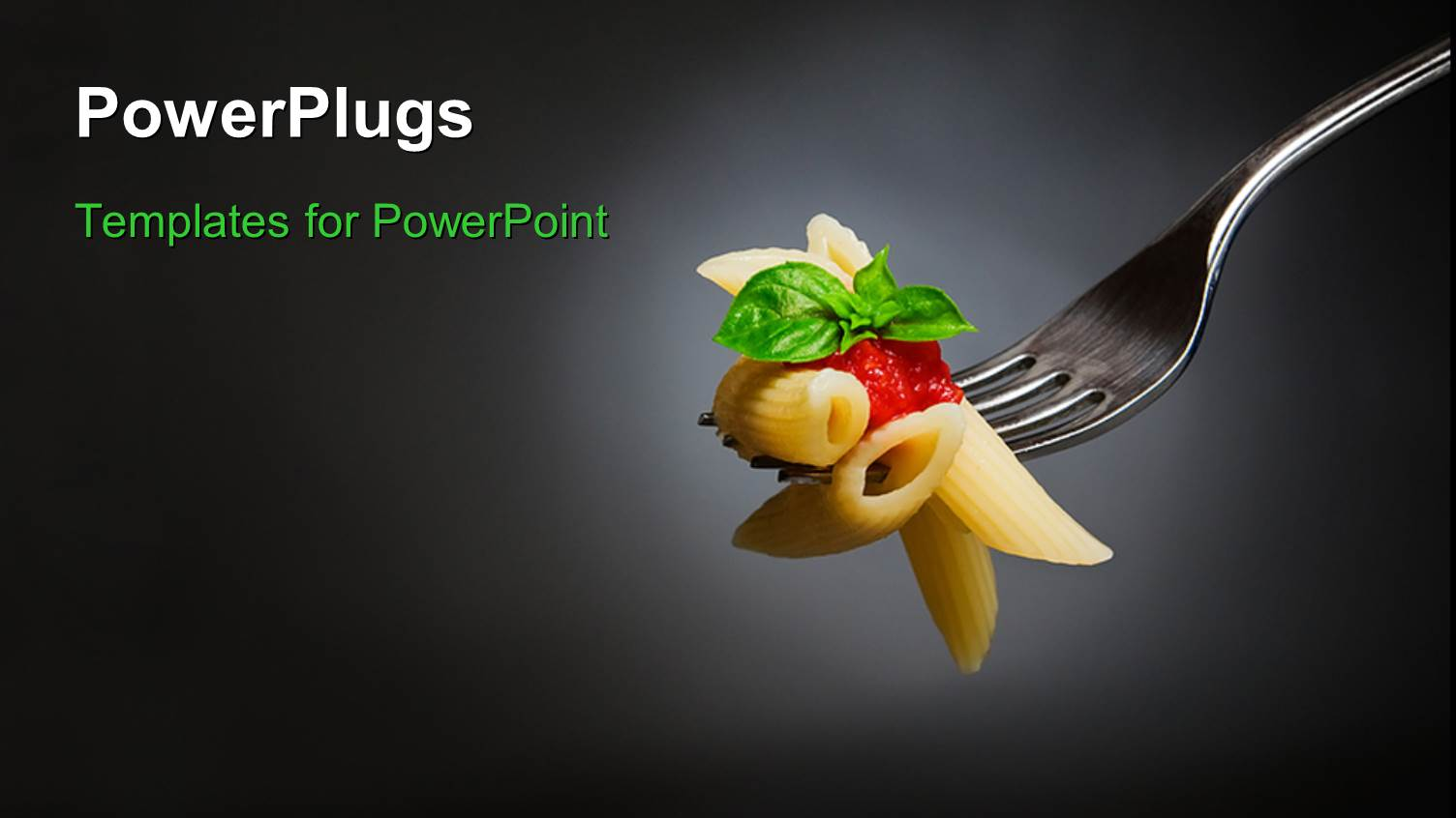 powerpoint template: macaroni pasta with tomato and basil on fork, Modern powerpoint