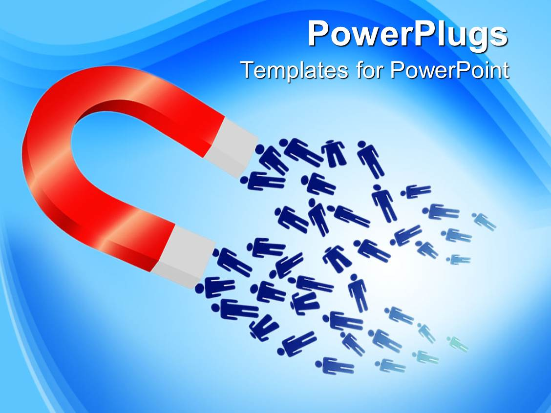 Powerpoint Template A Magnet Attracting A Number Of
