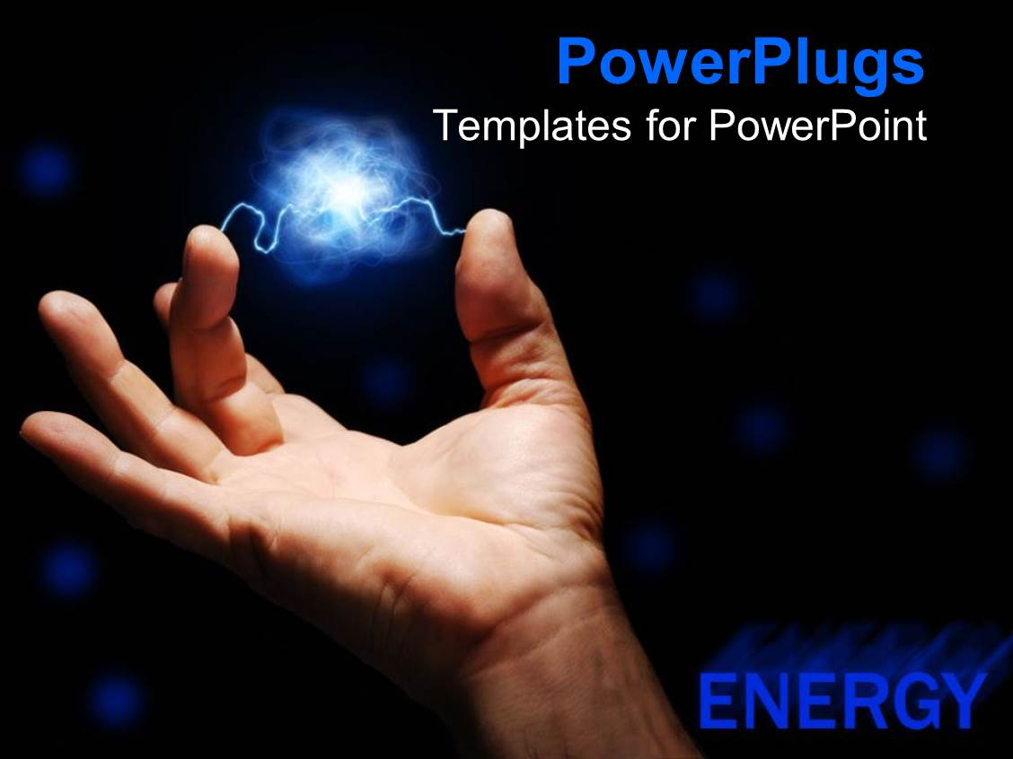 powerpoint template: male hand with blue electrical current, Presentation templates