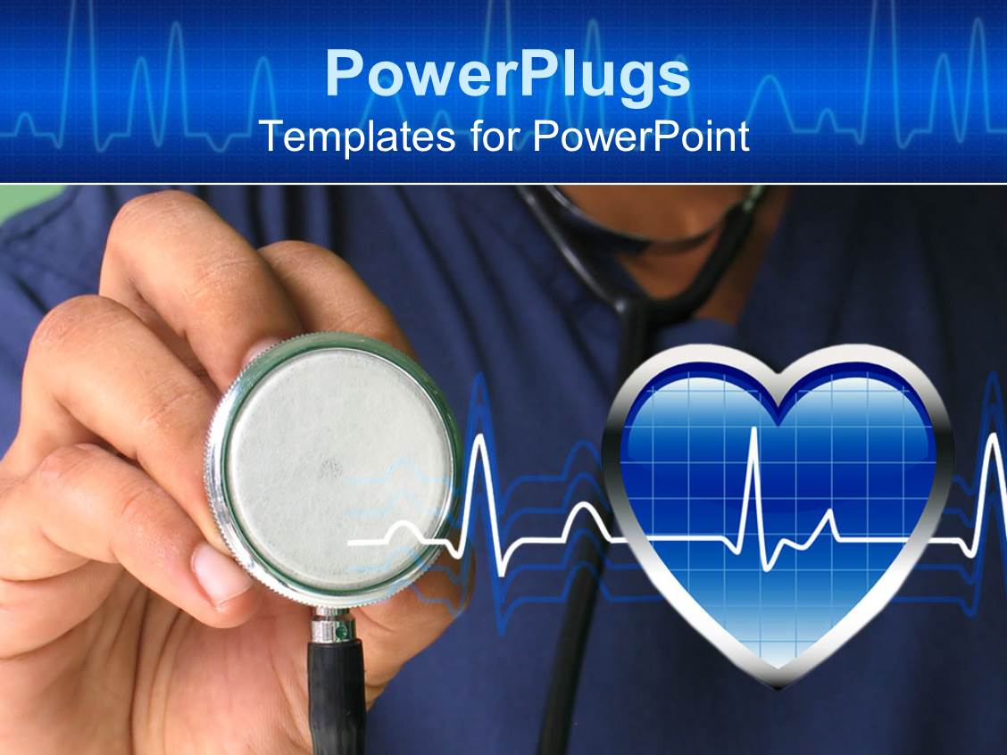 PowerPoint Template: a male nurse ready to check heartbeat ...