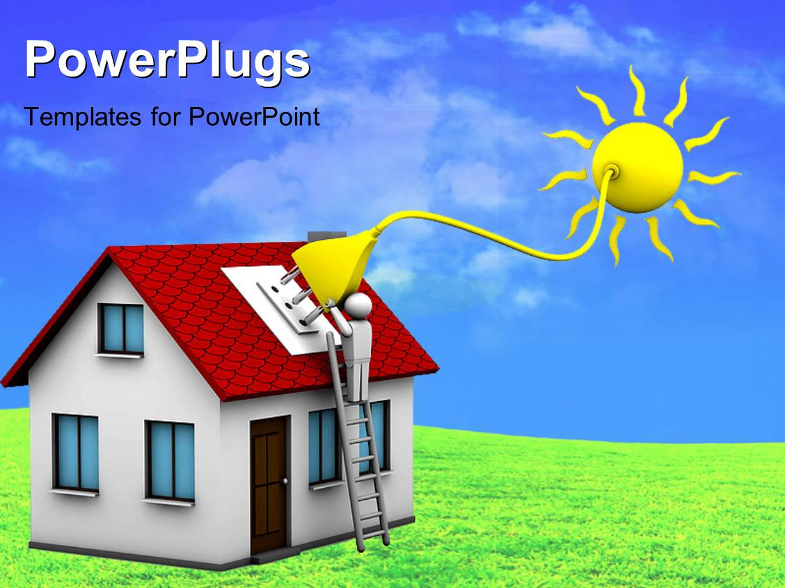powerpoint template: man who installs a solar energy system on a, Powerpoint templates