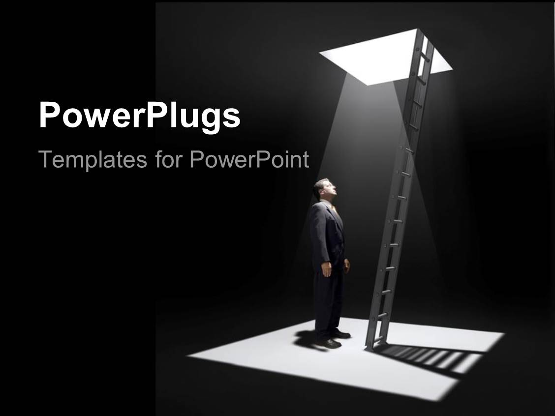 powerpoint template: man standing in pit beside ladder leading up, Modern powerpoint