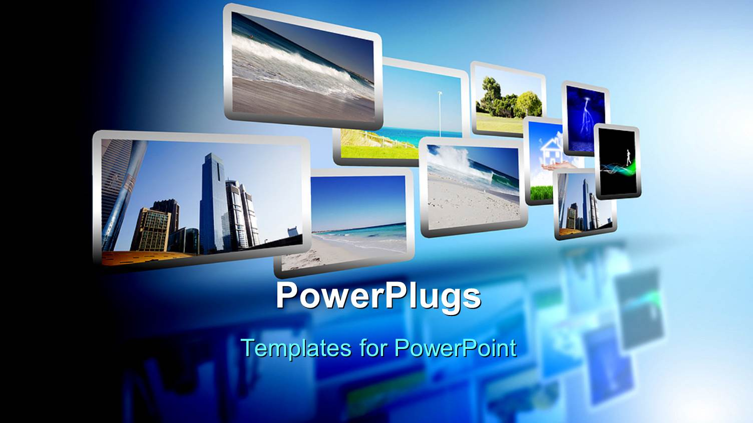 powerpoint template media stream of high technology and