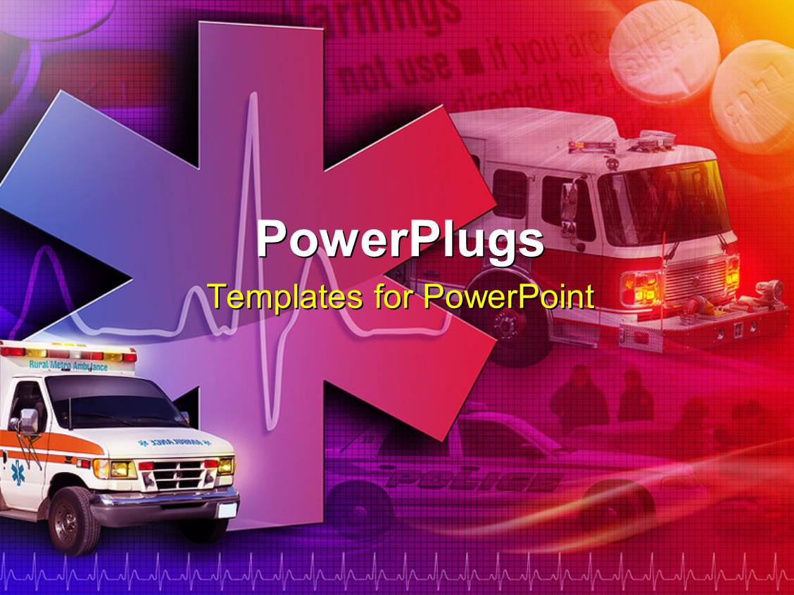 Medical powerpoint templates crystalgraphics powerplugs powerpoint template with medical collage with ambulance fire truck and police car in toneelgroepblik Choice Image