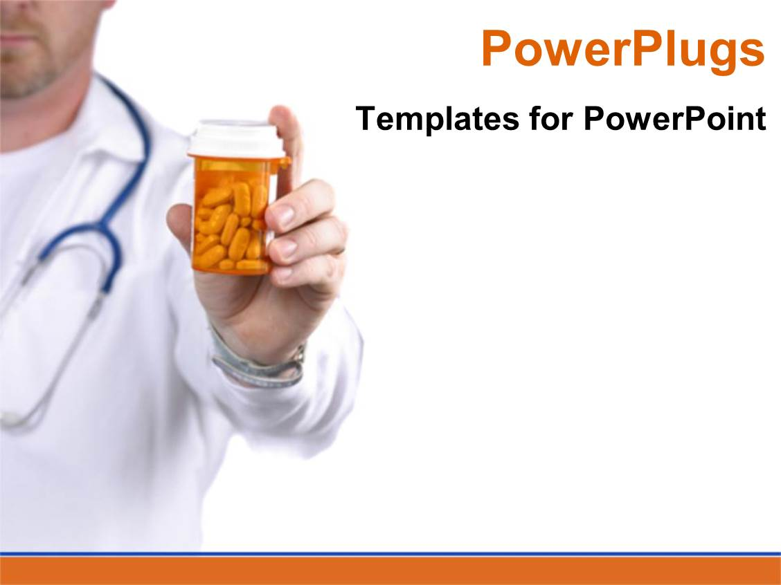 powerpoint template medical doctor holding bottle of pills on white background 19710. Black Bedroom Furniture Sets. Home Design Ideas
