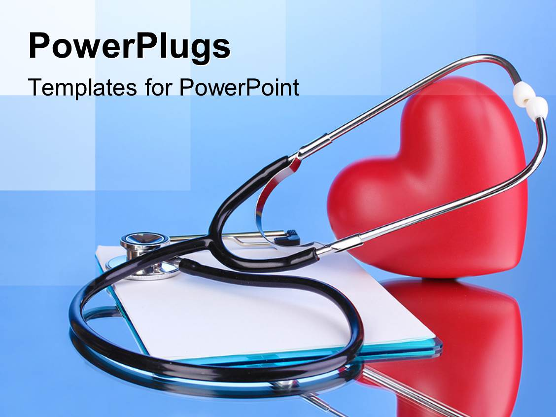Powerpoint template medical doctors with stethoscopes smiling i love this template enhanced with medical stethoscope with clipboard and red heart on blue background toneelgroepblik Choice Image