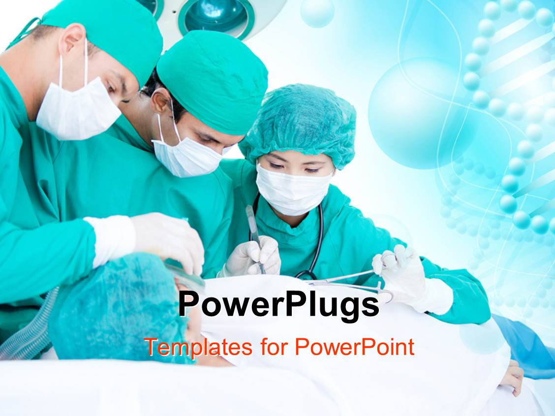 powerpoint template medical team of doctors performing operation on a patient using surgical. Black Bedroom Furniture Sets. Home Design Ideas