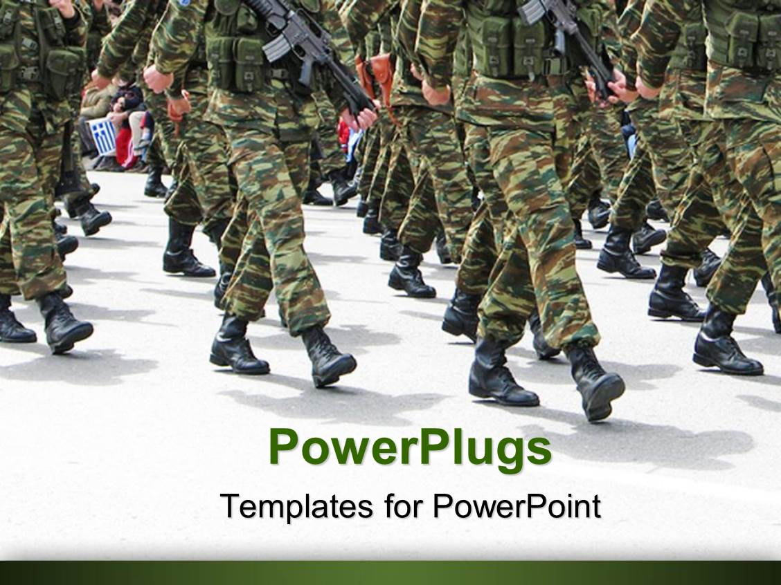 Soldier powerpoint templates crystalgraphics powerplugs powerpoint template with military parade background depicting soldiers marching in army parade toneelgroepblik Gallery