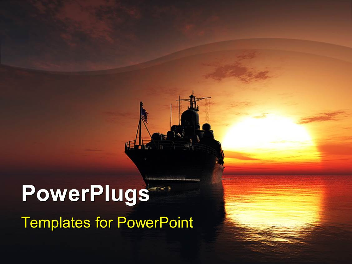 Powerplugs Powerpoint Template With Military Ship In The Sea With Sunset In The Background