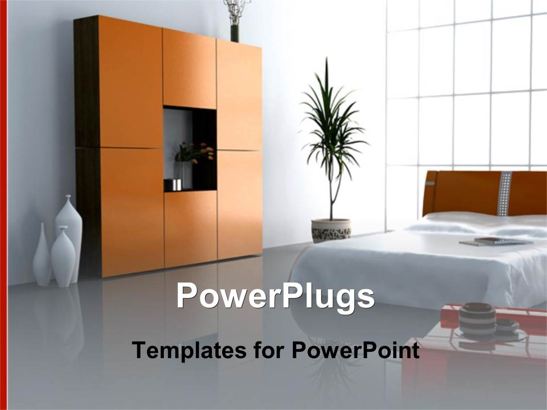 PowerPlugs PowerPoint Template With Modern Bedroom Interior Matrimony Bed Plant Wardrobe
