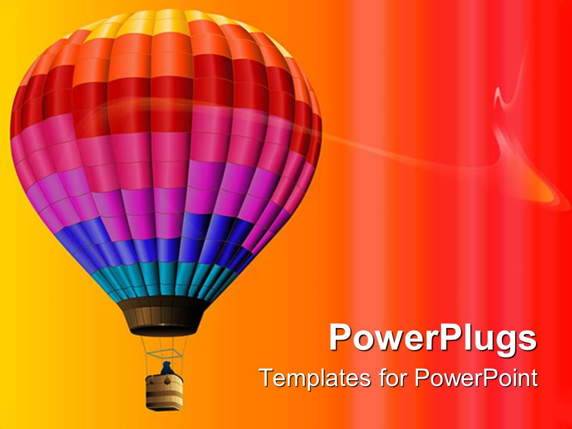 powerpoint template multi colored air balloon flying in