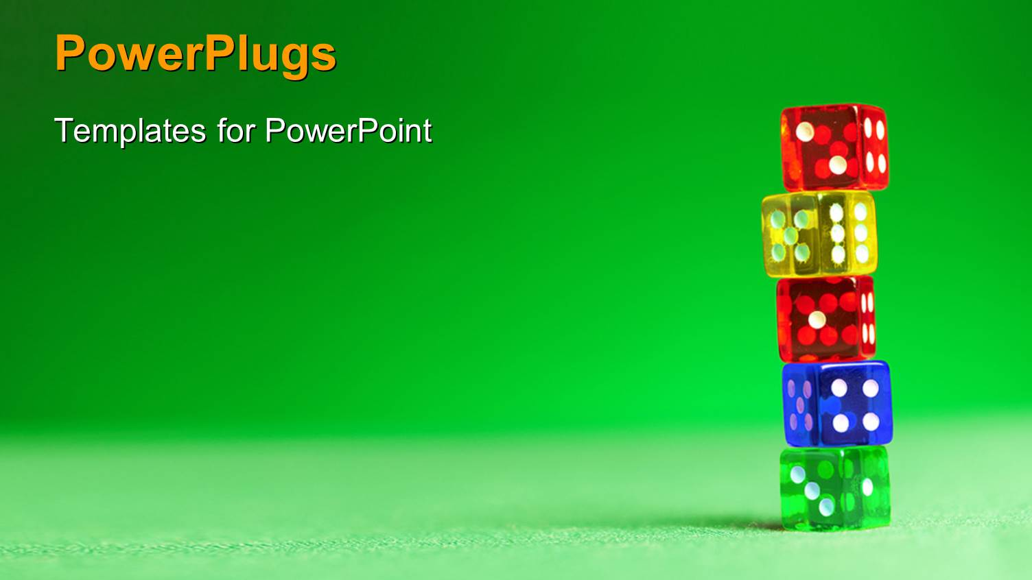 Free powerpoint templates 2529 html free ppt powerpoint templates - Powerplugs Powerpoint Template With A Number Of Colorful Dices With Greenish Background