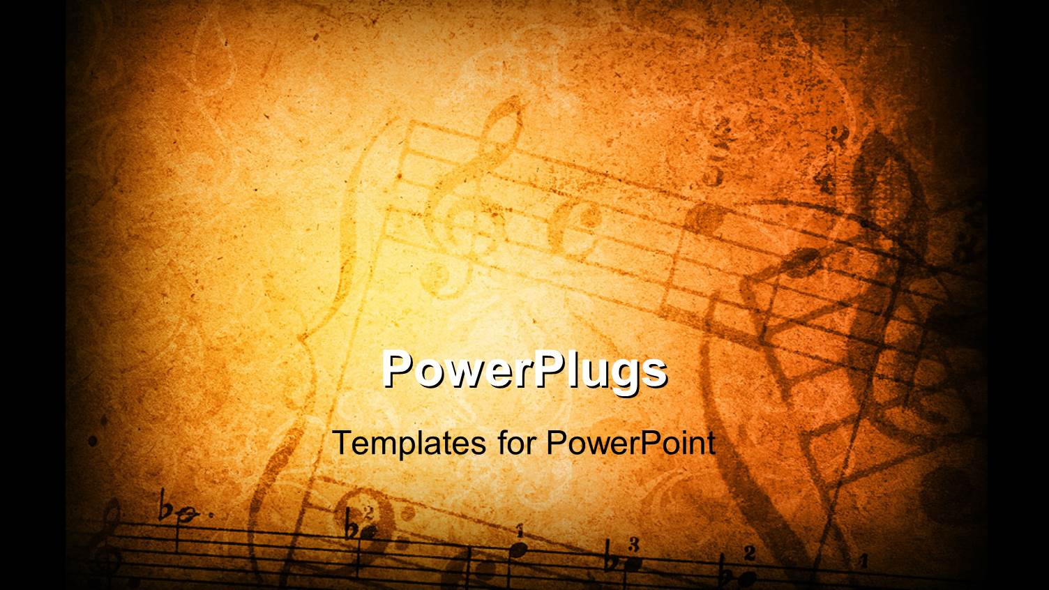 PowerPoint Template: vintage paper background depicting music ...