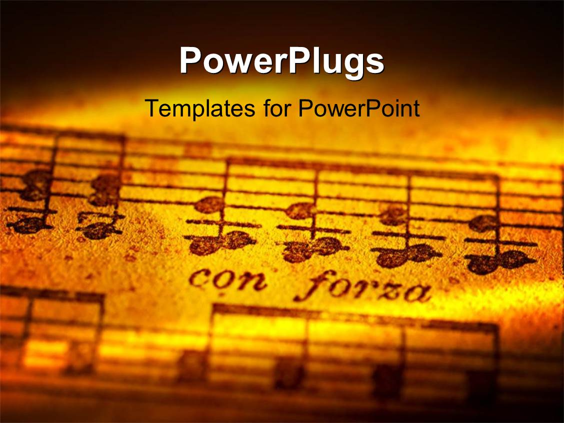 PowerPoint Template Displaying Musical Notes with Creative Lighting